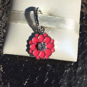 Flower red  charm dangling work pandora
